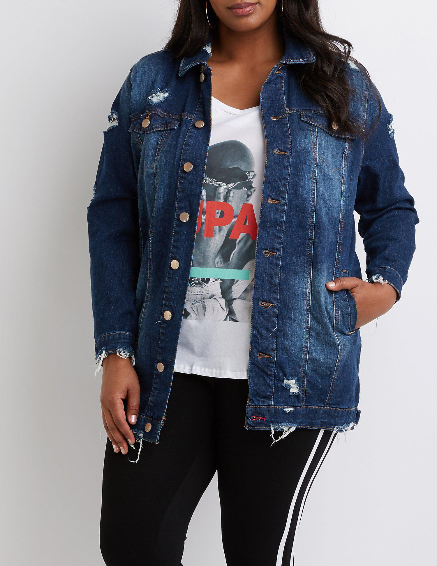 06482dee1c2c1 Lyst - Charlotte Russe Plus Size Destroyed Denim Jacket in Blue