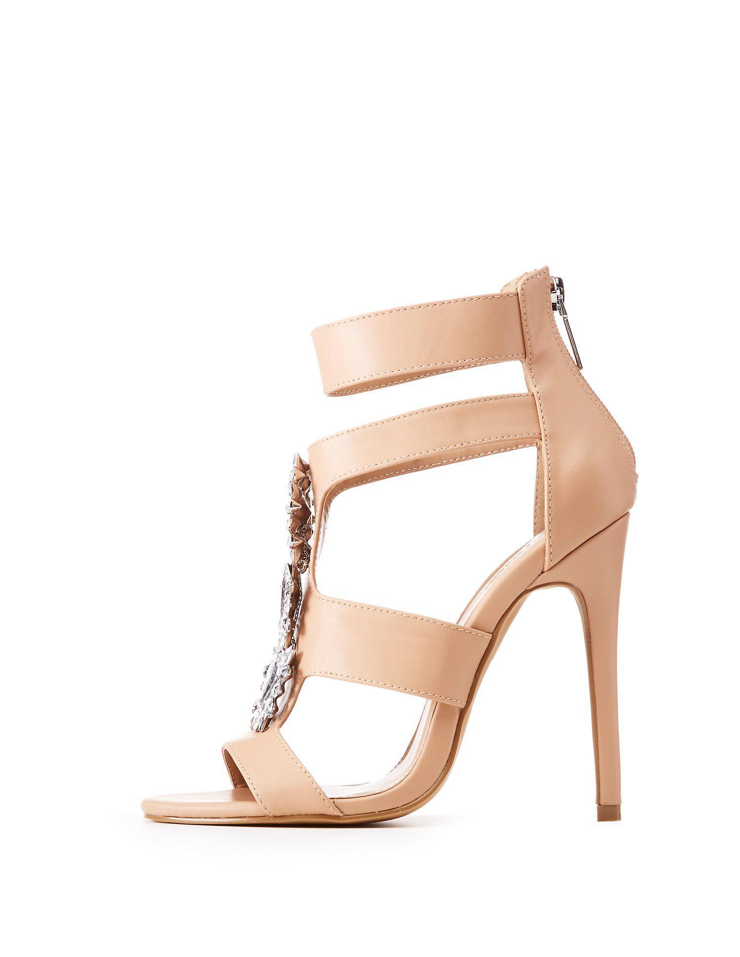 283794188ada Charlotte Russe. Women s Natural Crystal Embellished Caged Dress Sandals