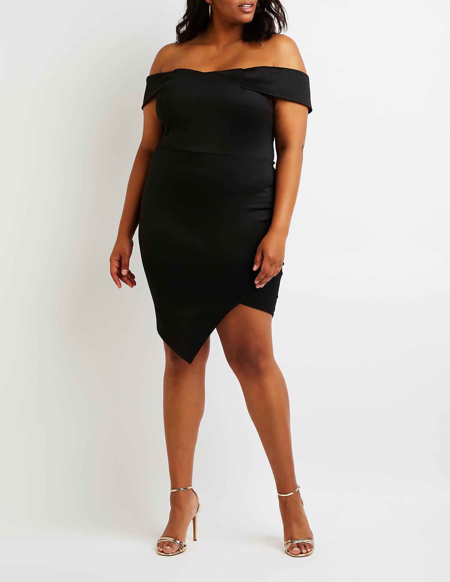 2d0a0411140 Lyst - Charlotte Russe Plus Size Off The Shoulder Dress in Black