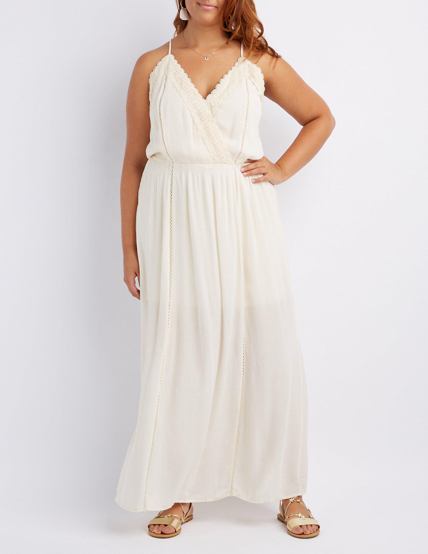 afa6eb21d89 Lyst - Charlotte Russe Plus Size Crochet-trim Maxi Dress in White