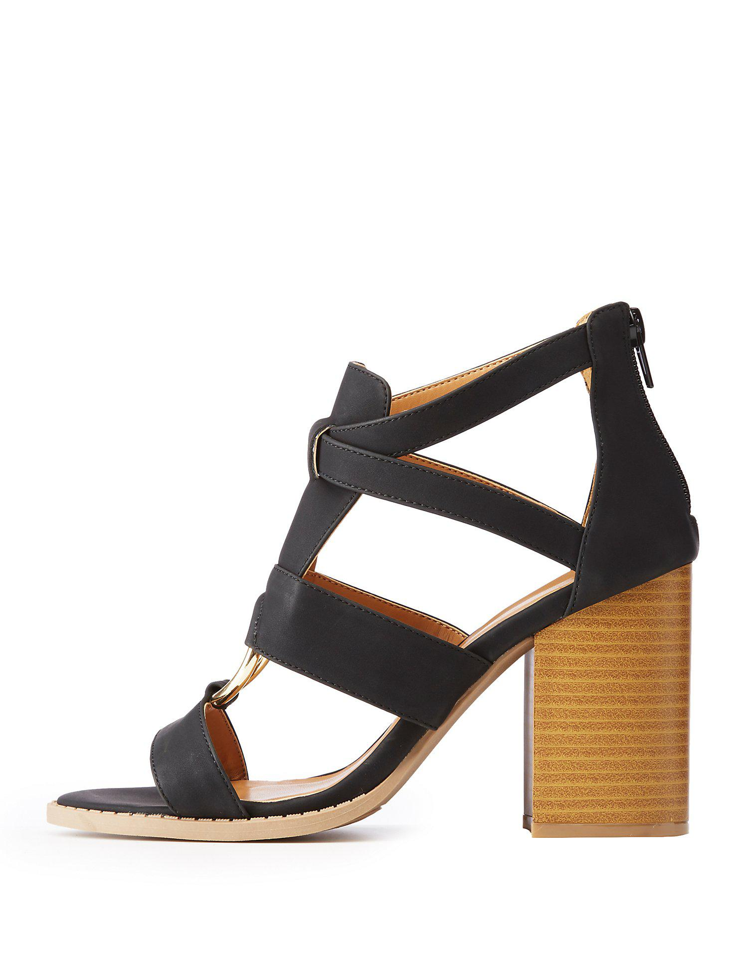 eeb6ded24d5 Lyst - Charlotte Russe Qupid O Ring Sandals in Black