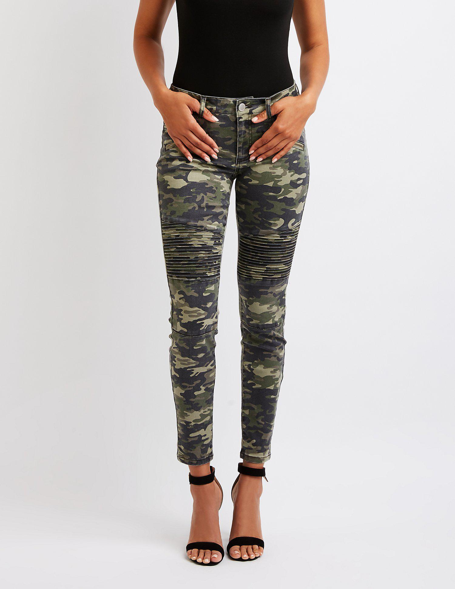 615a1cb88 Lyst - Charlotte Russe Refuge Camo Moto Skinny Jeans in Green