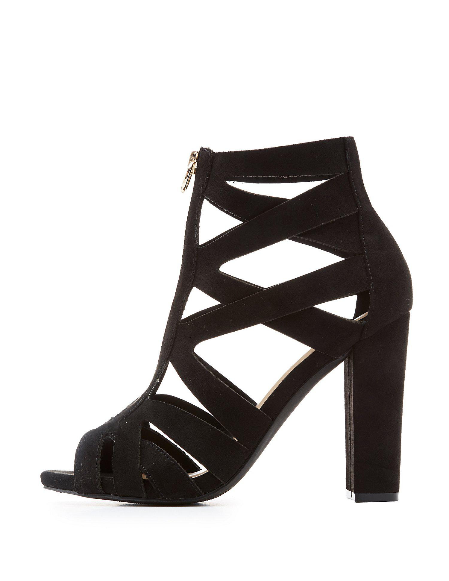 3ea655e0c007 Lyst Charlotte Russe Wide Width Caged Zip Front Sandals In Black