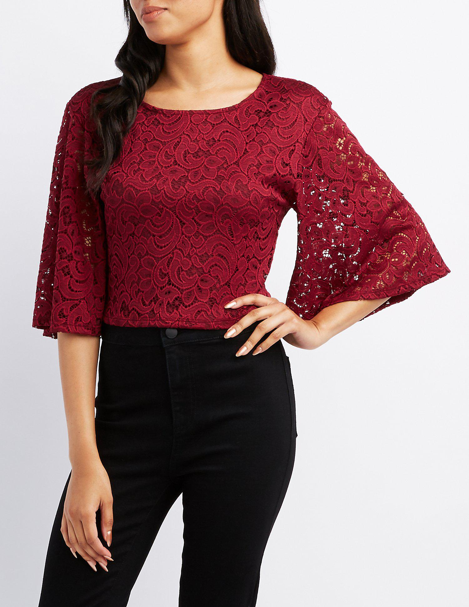 64d068b1c612fa Lyst - Charlotte Russe Lace Flutter Sleeve Crop Top in Red