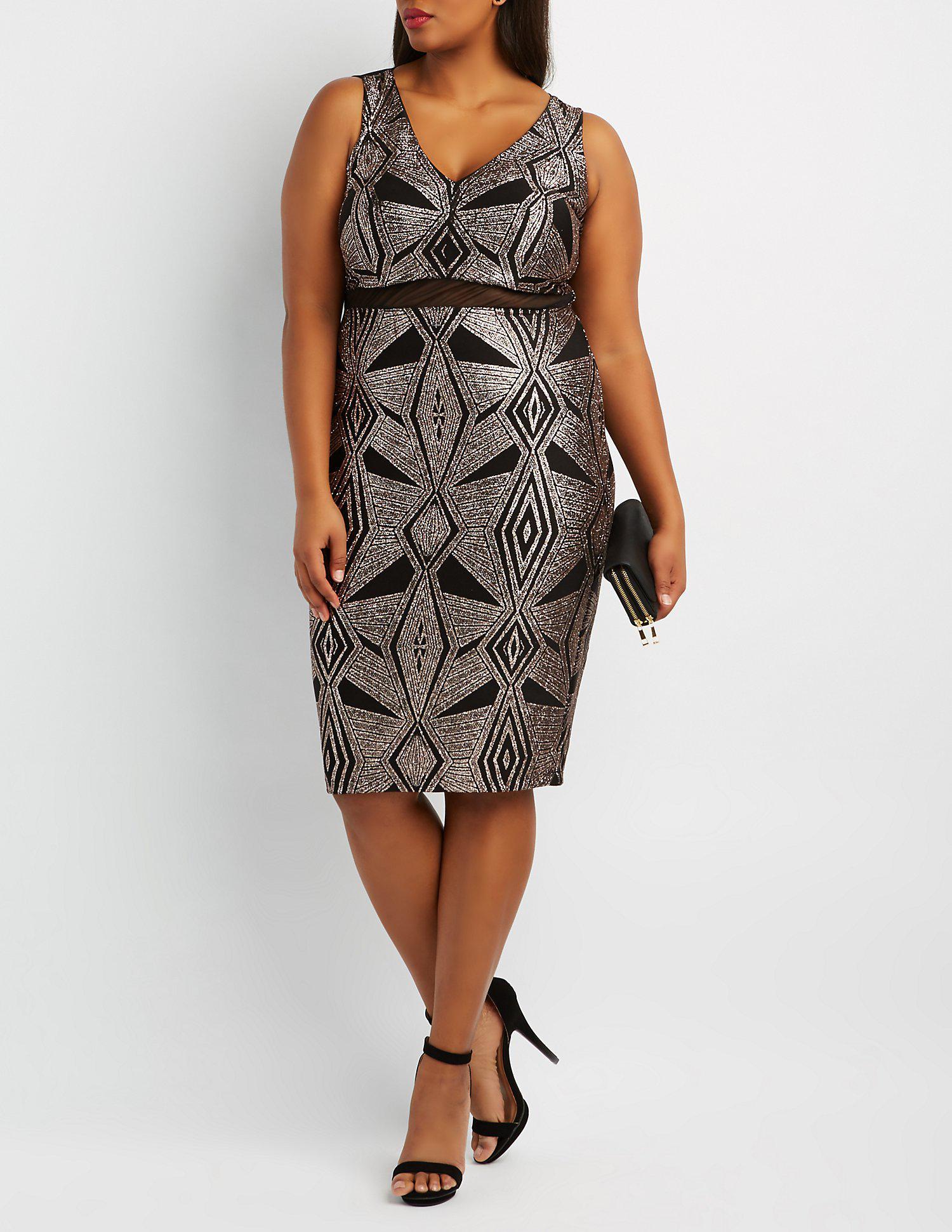 b6595b58d9a5 Lyst - Charlotte Russe Plus Size Glitter & Mesh Bodycon Dress in Black