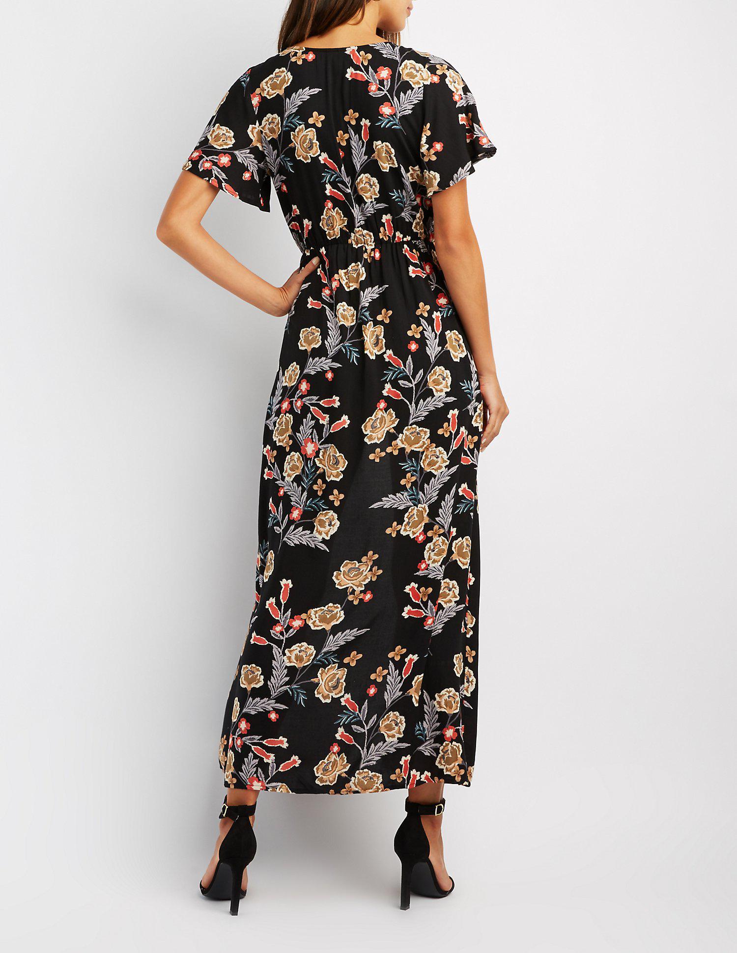 4a1c29ec036 Lyst - Charlotte Russe Floral Surplice Maxi Romper in Black