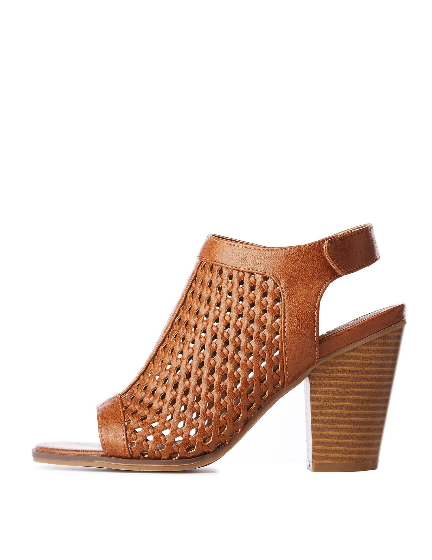 f89dbf0f09d9 Lyst - Charlotte Russe Perforated Peep Toe Booties in Brown