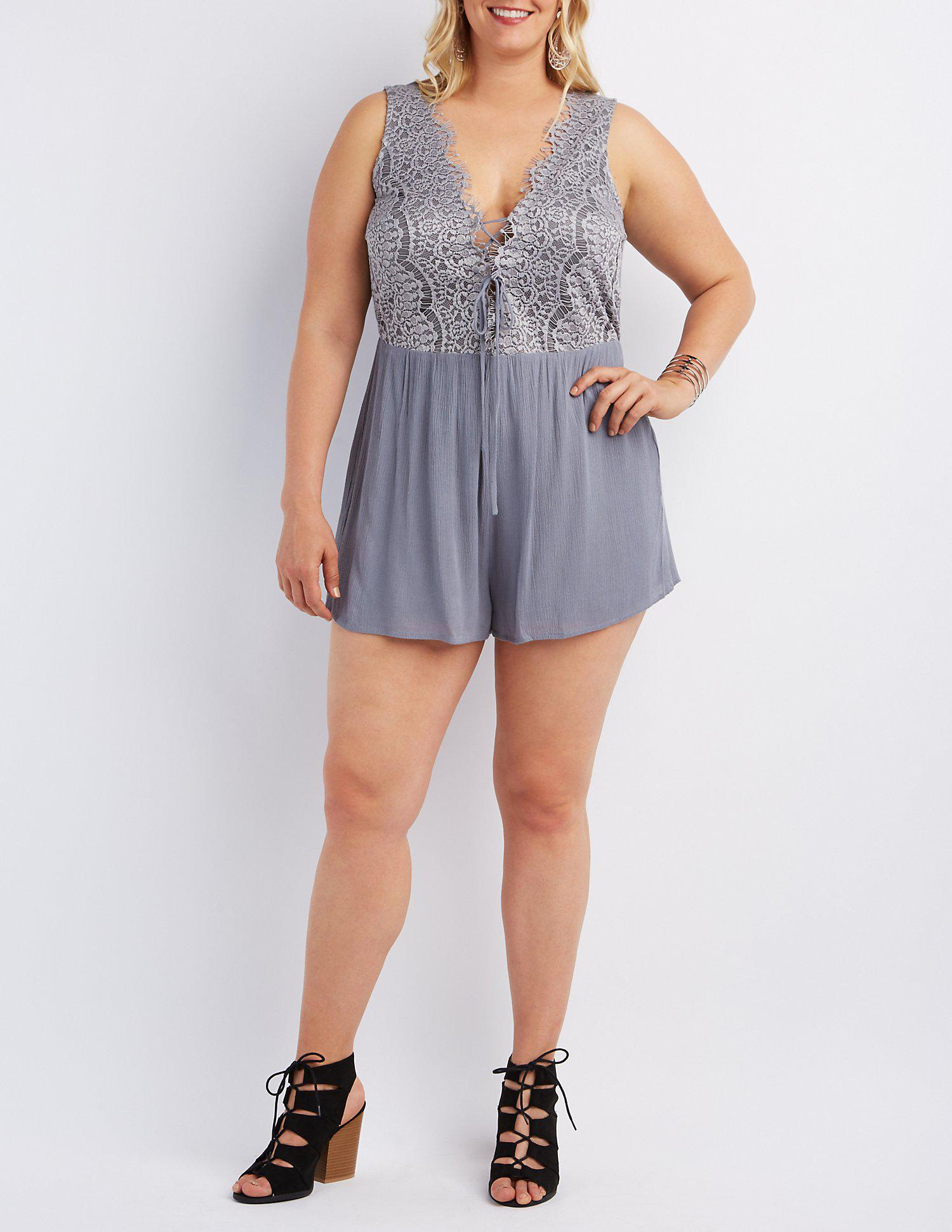 f9eea2c108a Lyst - Charlotte Russe Plus Size Lace Bodice Romper in Gray