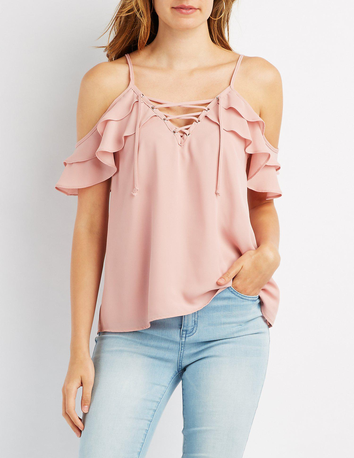 f7c8b69137f Lyst - Charlotte Russe Ruffle Lace-up Cold Shoulder Top in Purple