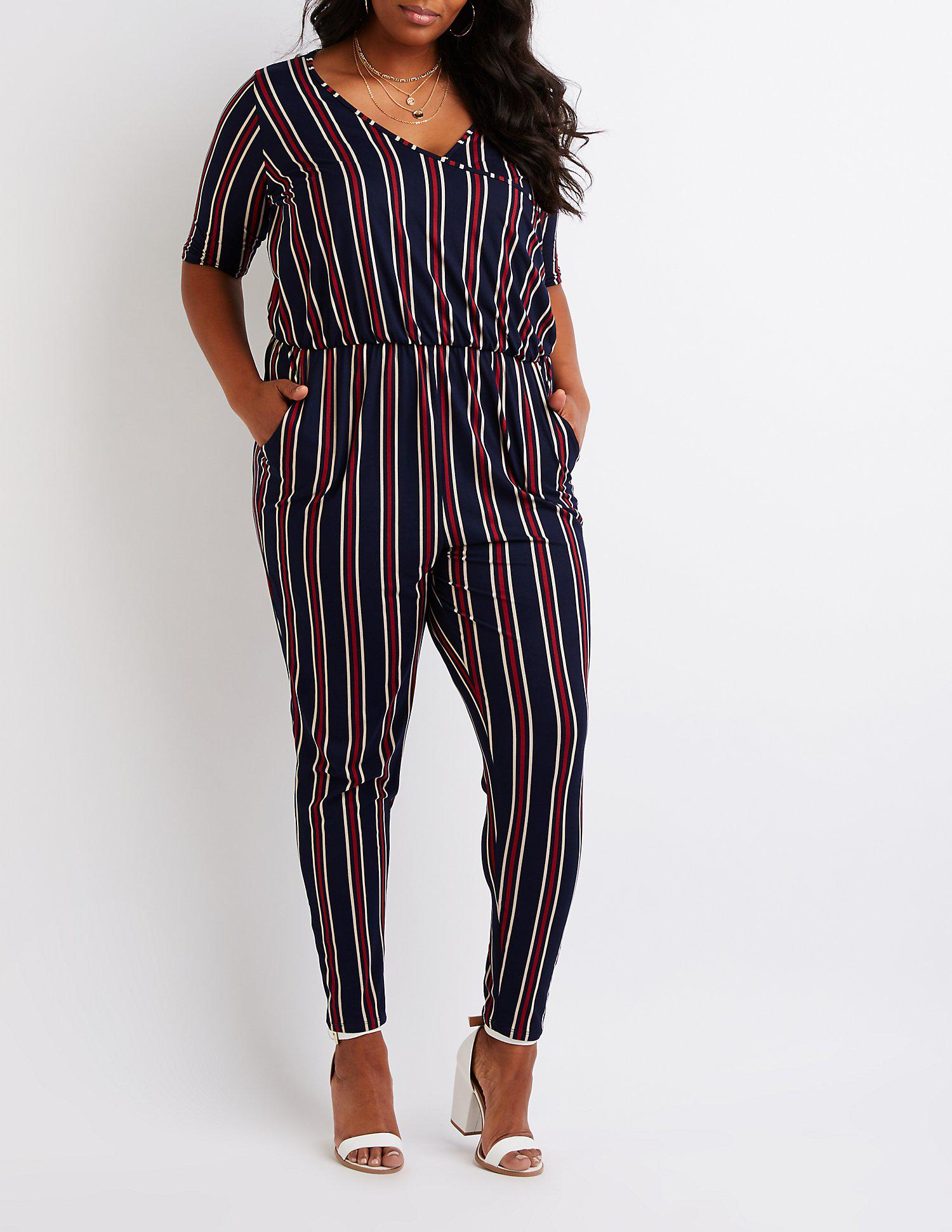 77c5a099442 Lyst - Charlotte Russe Plus Size Striped Wrap Jumpsuit in Blue