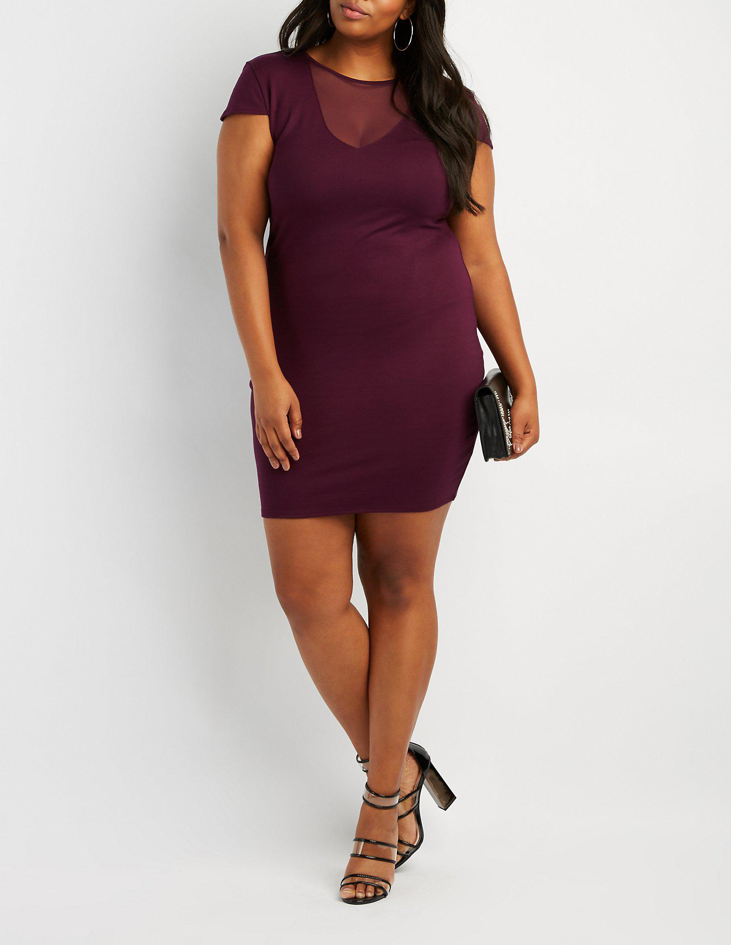 Lyst - Charlotte Russe Plus Size Mesh-inset Bodycon Dress in ...