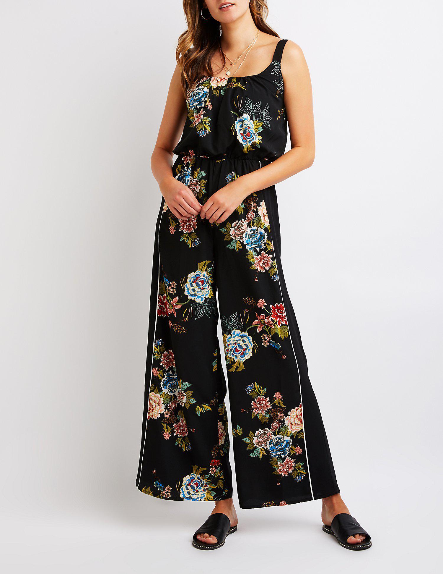 182eee769773 Lyst - Charlotte Russe Floral Wide Leg Jumpsuit in Black