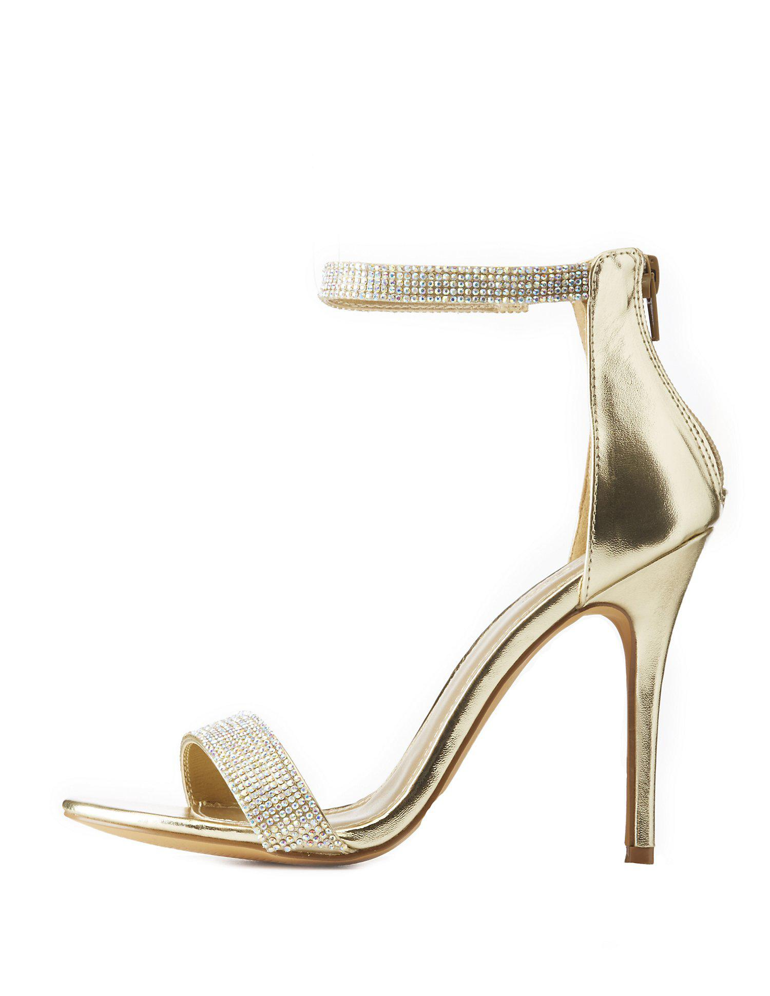 150e60b95bd Lyst - Charlotte Russe Embellished Metallic Two-piece Dress Sandals ...