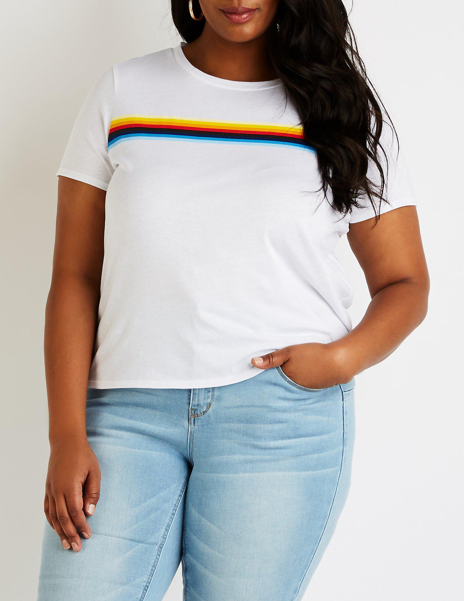 c7bb55e7d49eb6 Lyst - Charlotte Russe Plus Size Rainbow Striped Tee in White