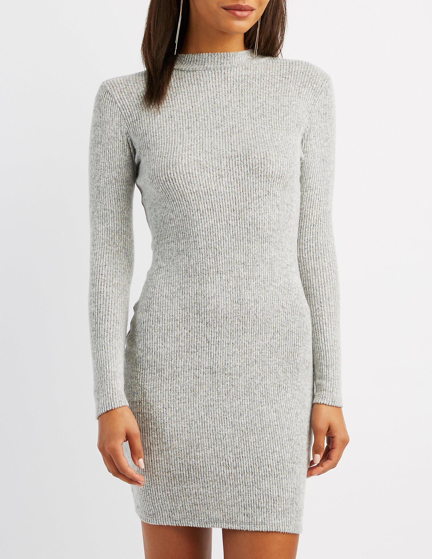 c6fbbb54959 Lyst - Charlotte Russe Ribbed Knit Bodycon Sweater Dress in Gray