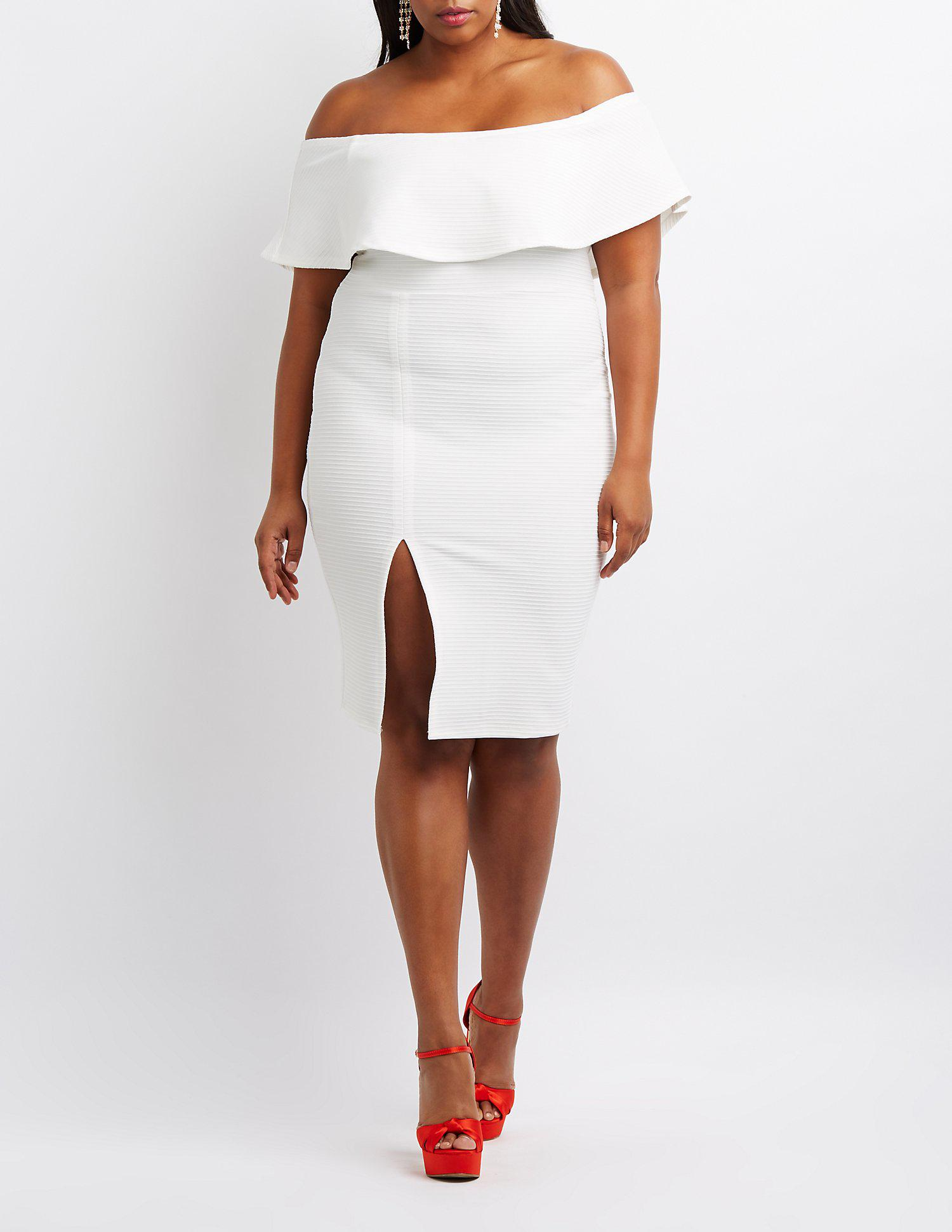 4f6689bce65 Lyst - Charlotte Russe Plus Size Textured Off-the-shoulder Bodycon ...