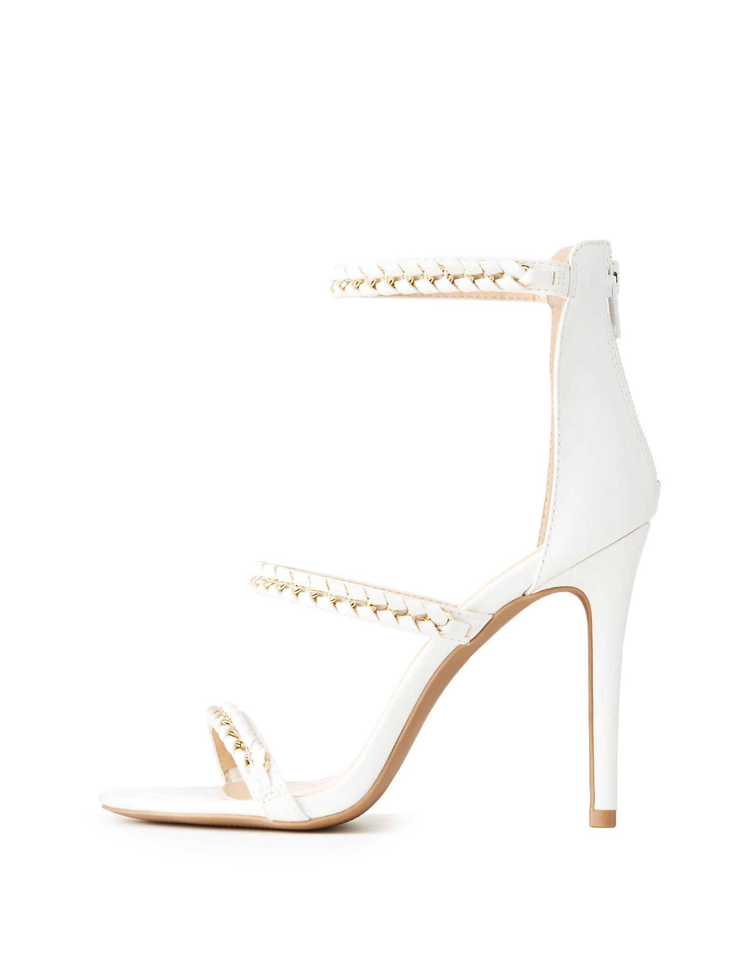 16317a192a4 Lyst - Charlotte Russe Chain Braided Ankle Strap Dress Sandals in White