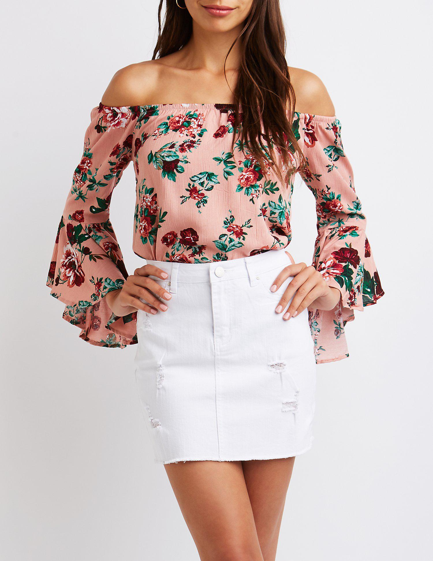 423d475656e3a9 Lyst - Charlotte Russe Floral Off The Shoulder Top in Purple
