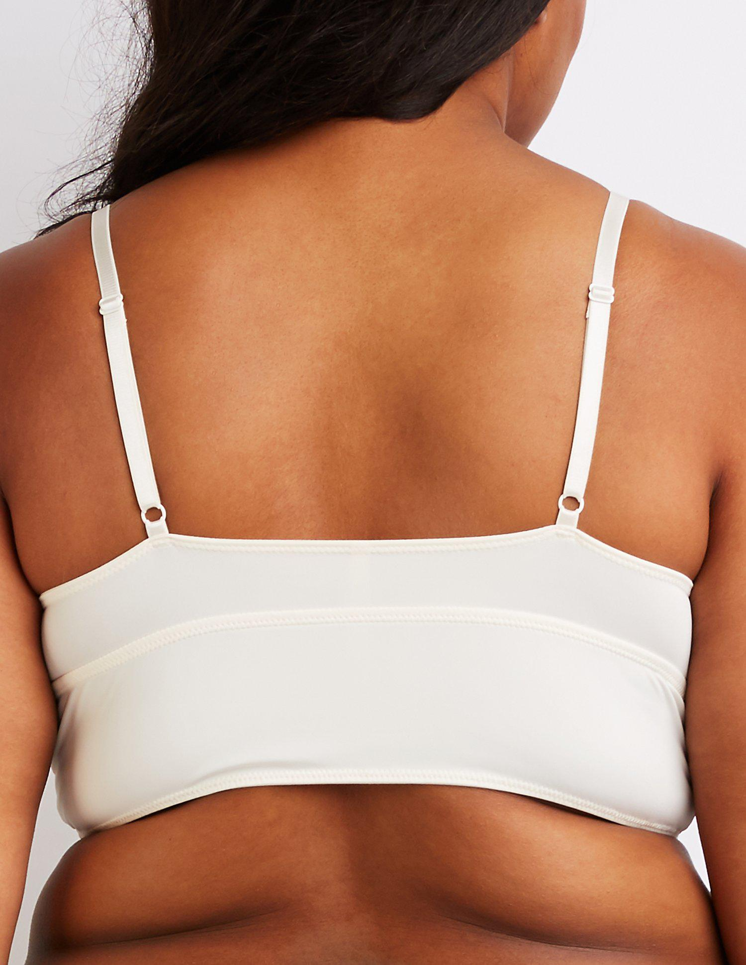 7f1d37bd5e Charlotte Russe - White Plus Size Scalloped Longline Bralette - Lyst. View  fullscreen