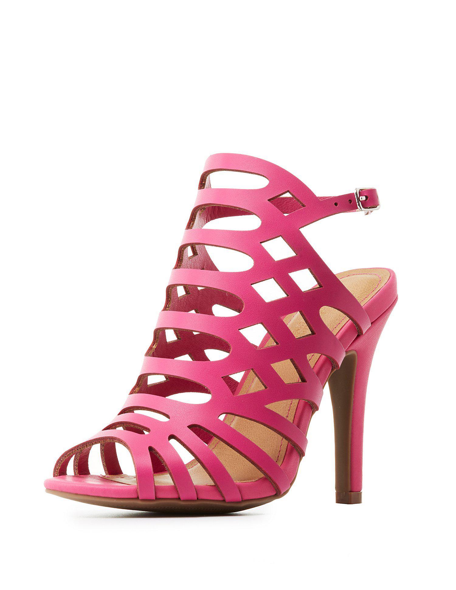 c5d239b85b58 Lyst - Charlotte Russe Wide Width Laser Cut Dress Sandals in Pink