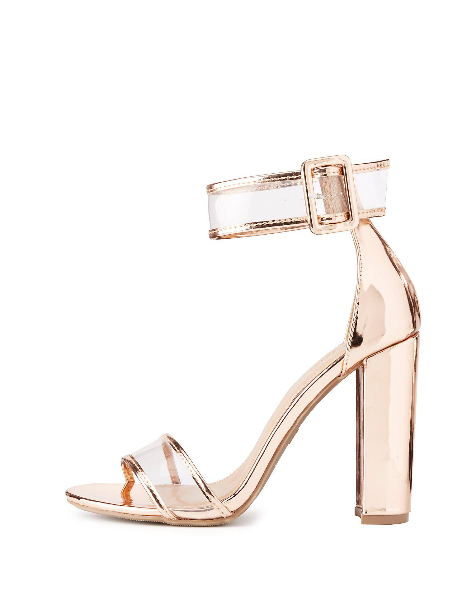 dc4f28df6be Lyst - Charlotte Russe Clear Two-piece Dress Sandals