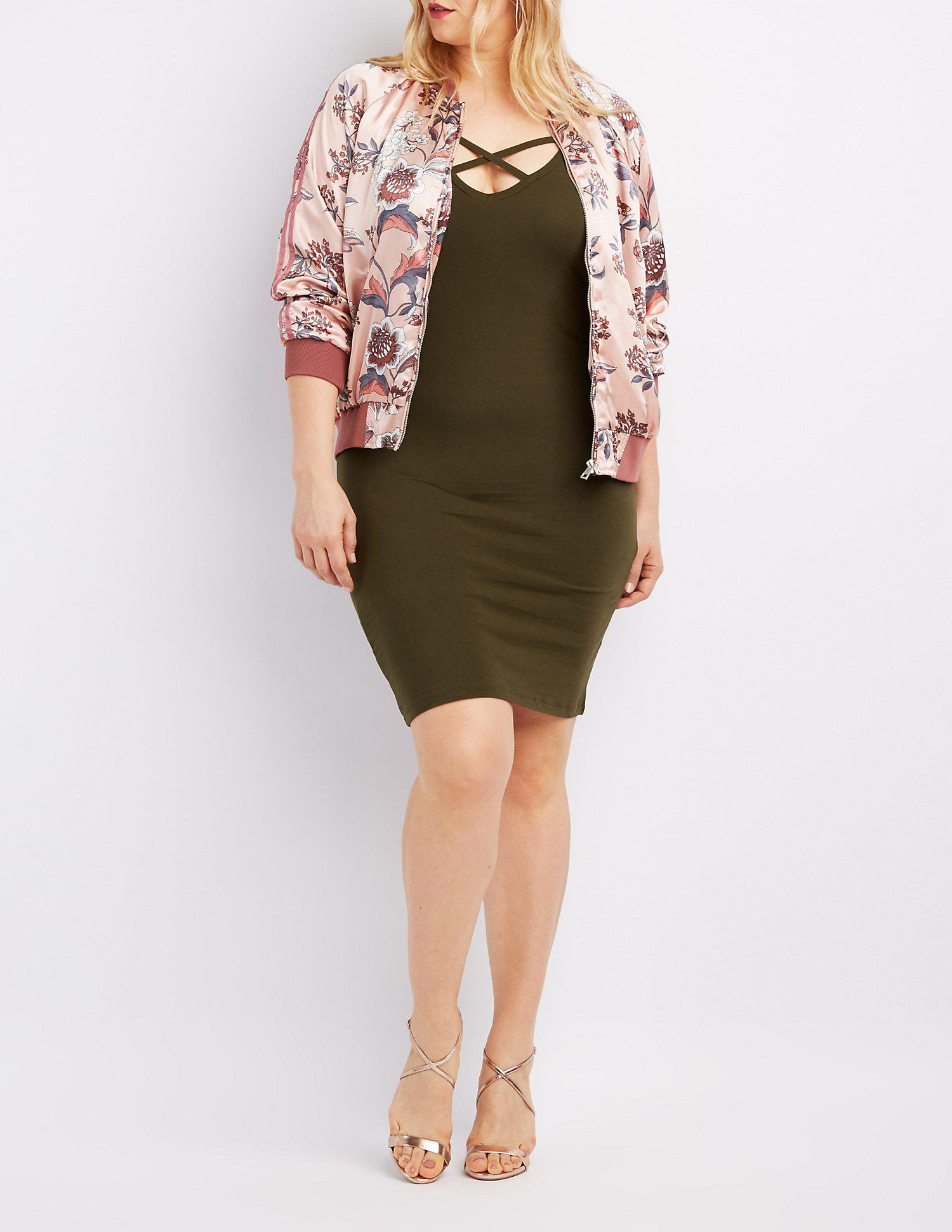 d17072855e1 Lyst - Charlotte Russe Plus Size Floral Satin Bomber Jacket
