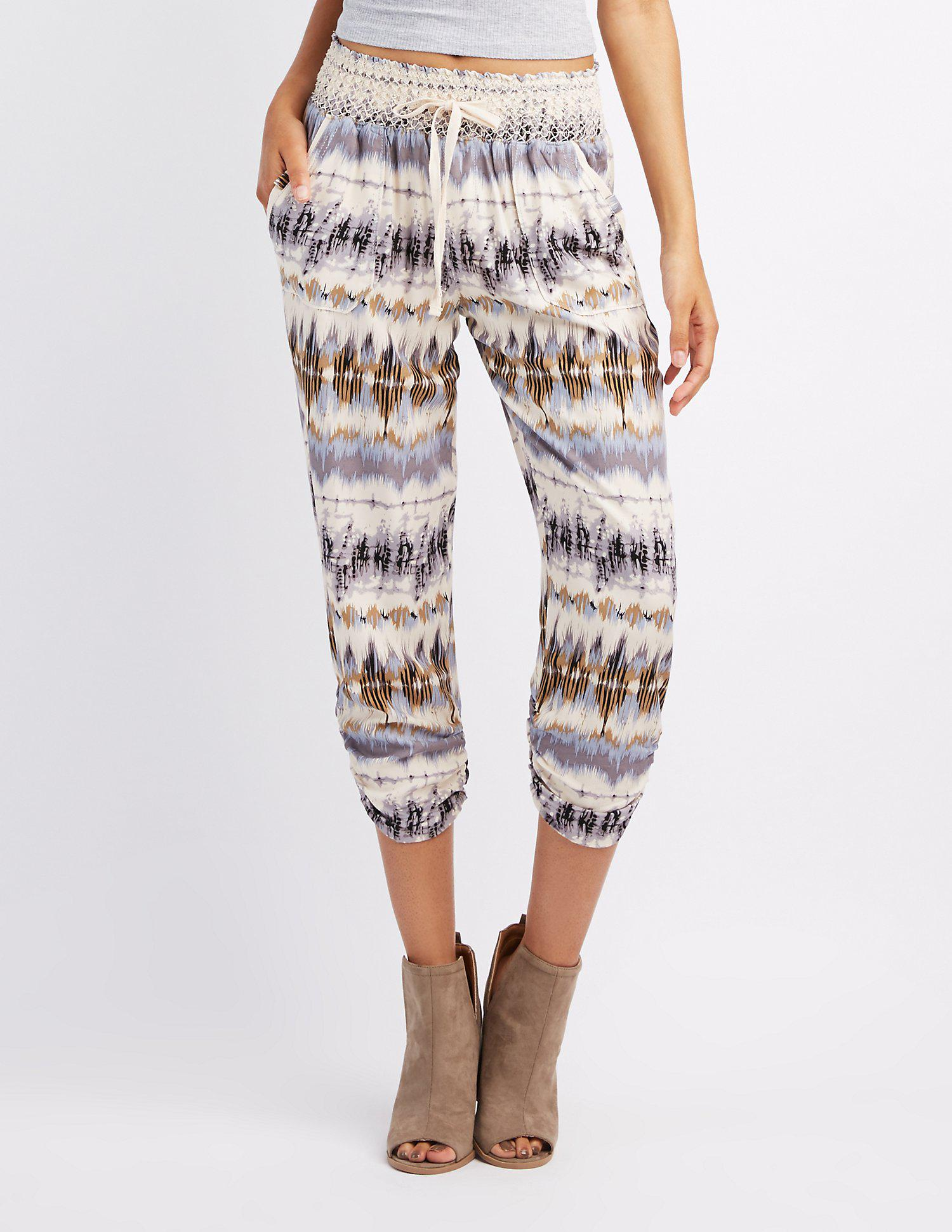 f5dec5fa5c03f Lyst - Charlotte Russe Printed Smocked Waist Jogger Pants