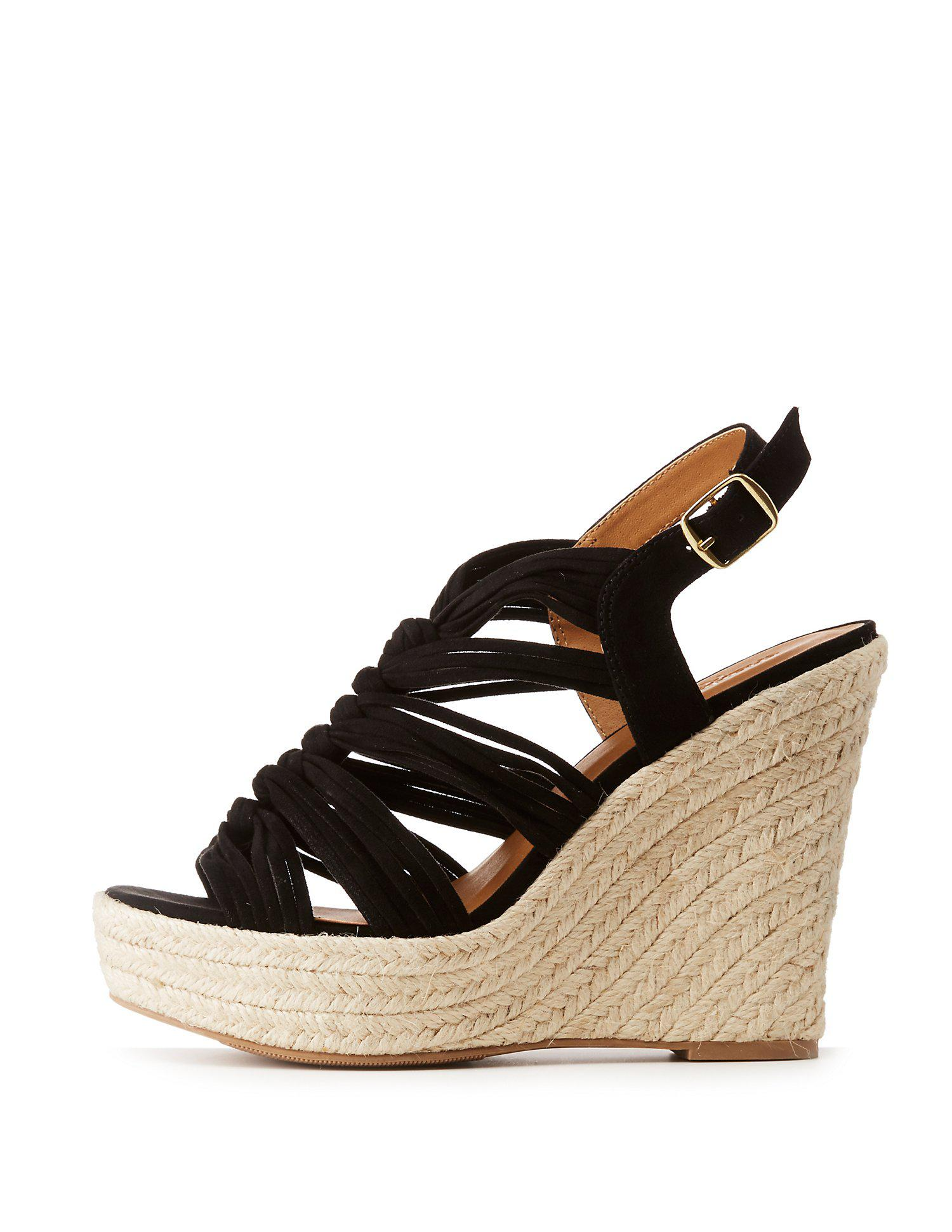 9818c9f78d9 Lyst - Charlotte Russe Espadrille Wedge Strappy Sandals in Black
