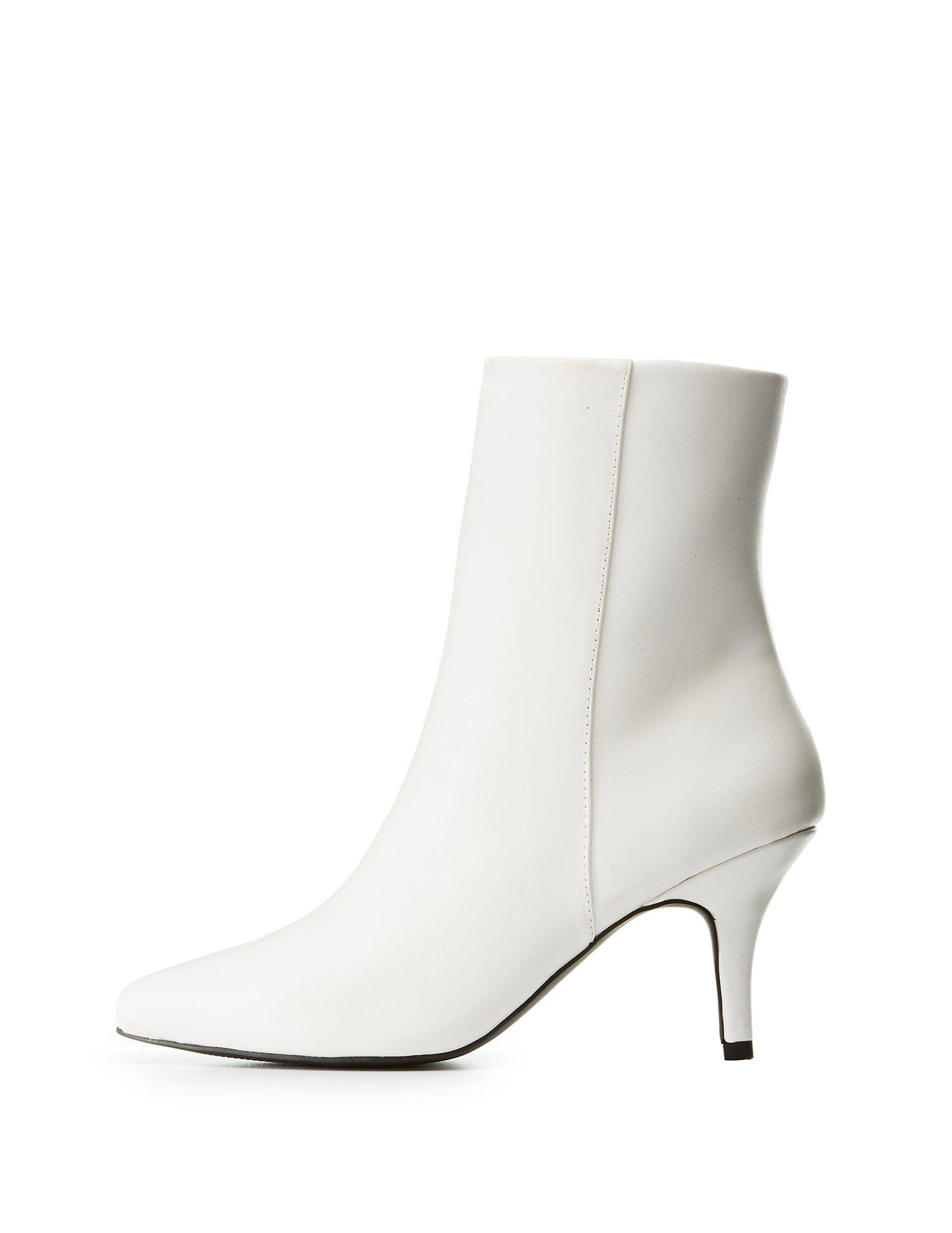 ec6b22d0ac67 Lyst - Charlotte Russe Qupid Pointed Toe Kitten Heel Booties in White