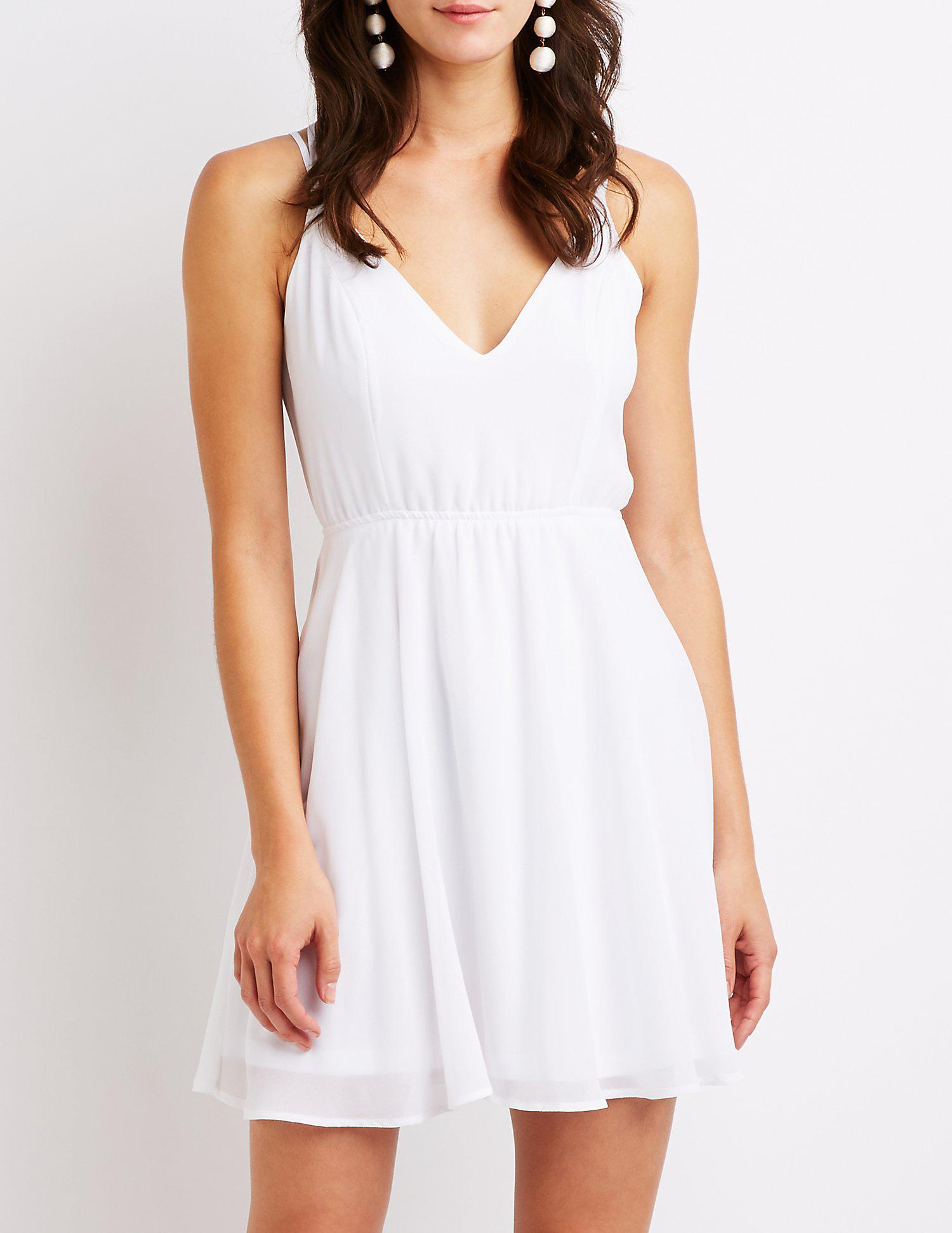 10fad3c09c Lyst - Charlotte Russe Strappy Open Back Skater Dress in White ...