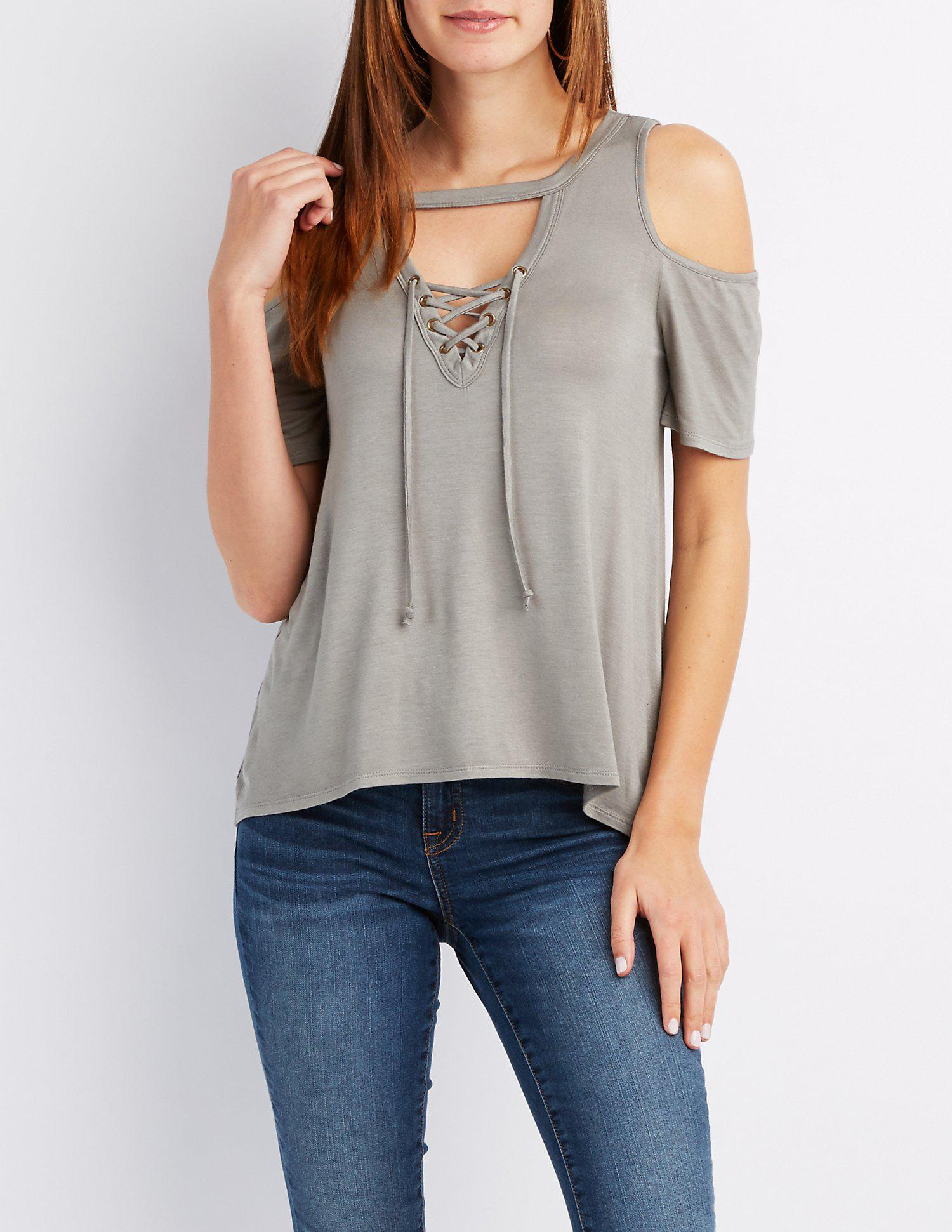 e9d108ba080ce7 Lyst - Charlotte Russe Lace-up Cold Shoulder Top in Green
