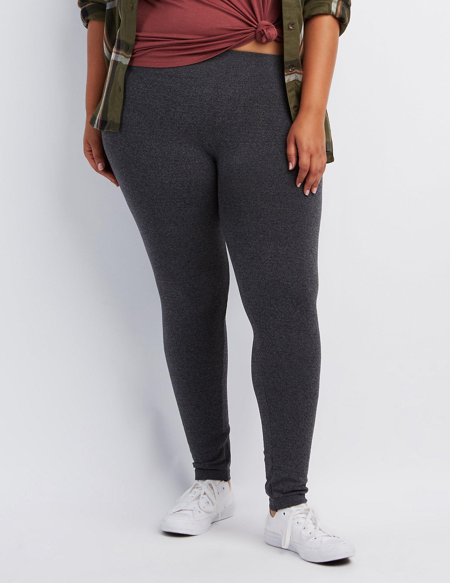 3488c8ac71bad5 Lyst - Charlotte Russe Plus Size Fleece Lined Leggings in Gray