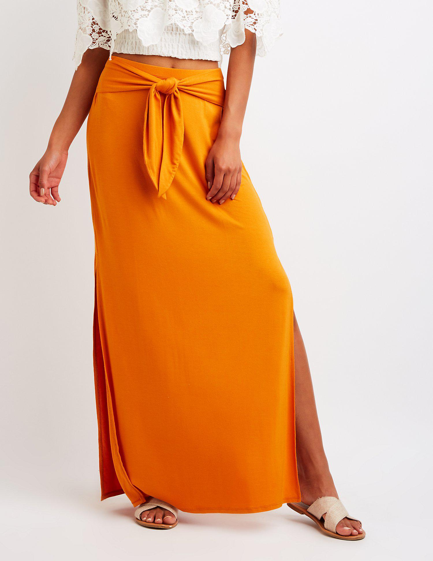 be62136b8a Lyst - Charlotte Russe Wrap Tie Maxi Skirt in Orange