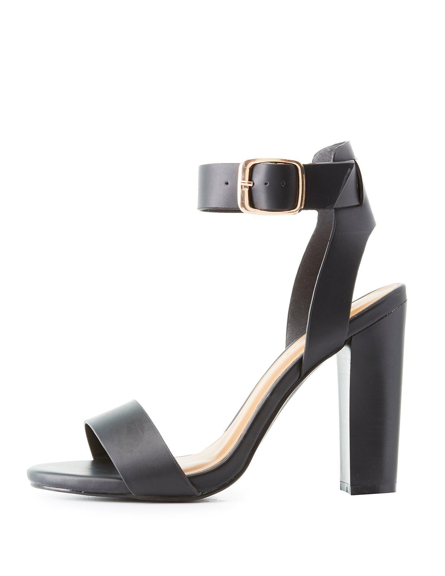 08e1eea91b0 Lyst - Charlotte Russe Bamboo Two-piece Block Heel Sandals in Black