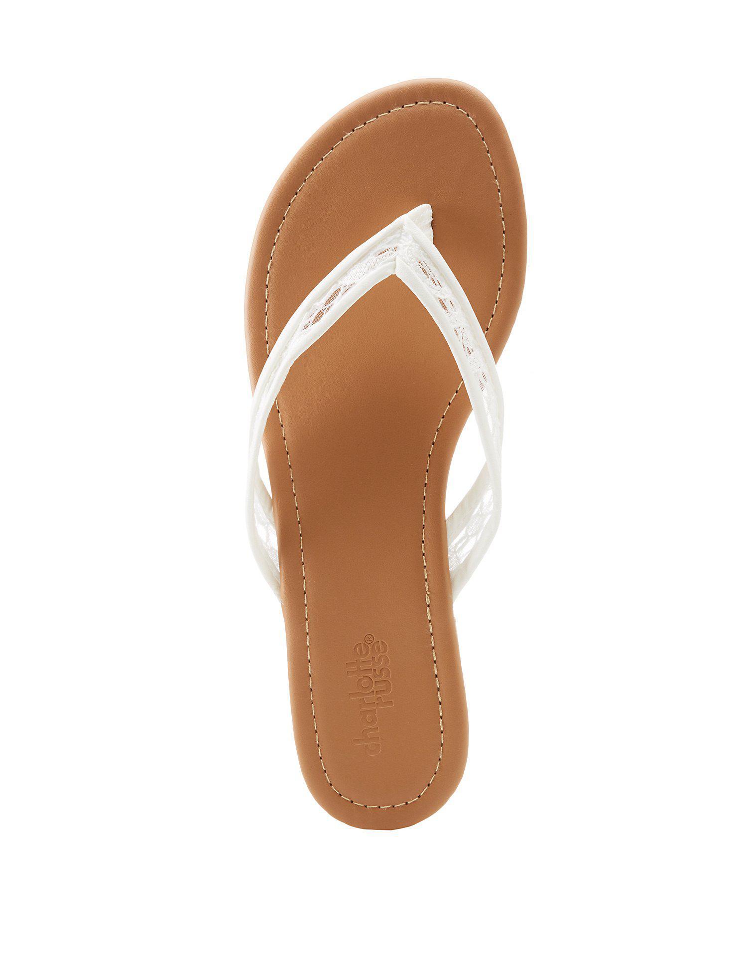 eae1de10661cb Lyst - Charlotte Russe Lace Strap Flip Flop Sandals in White
