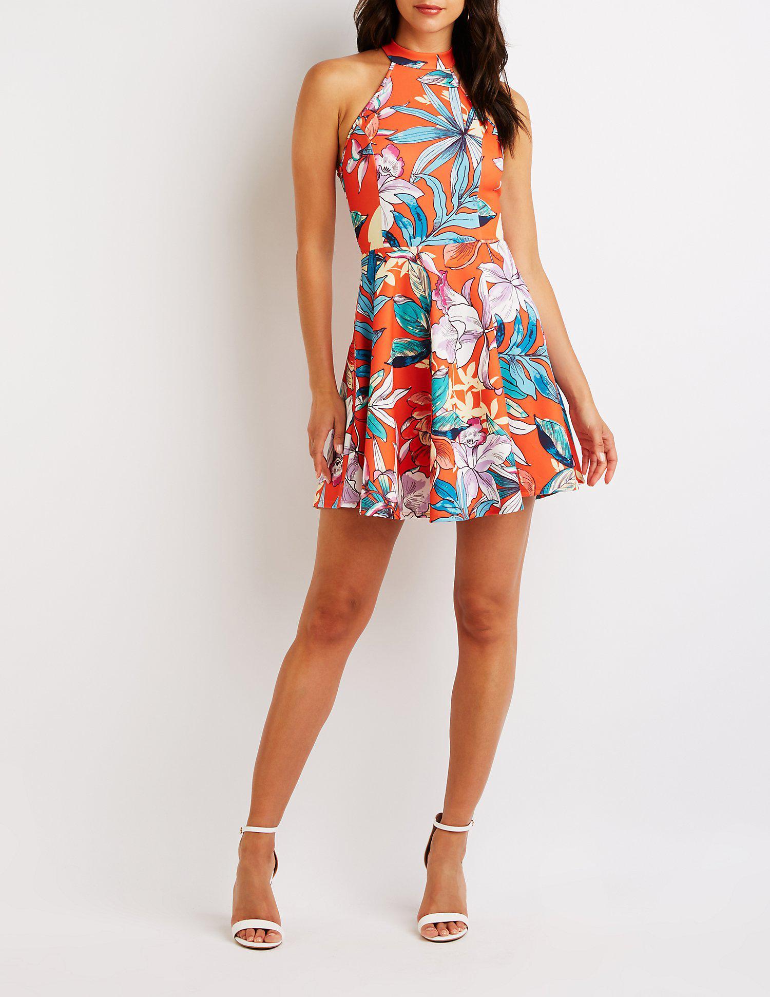 5fc2cf41835c Charlotte Russe - Orange Floral Bib Neck Skater Dress - Lyst. View  fullscreen