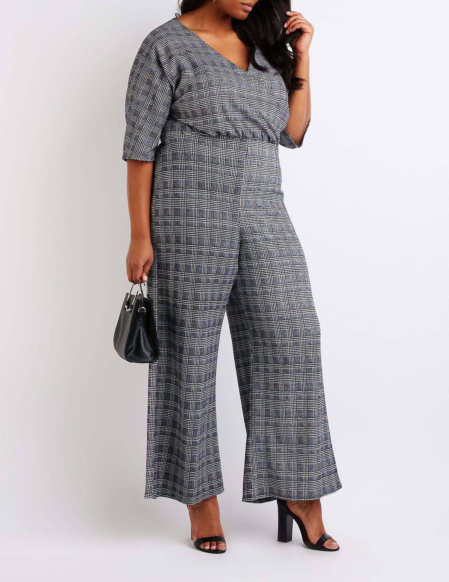 50918e7d691 Lyst - Charlotte Russe Plus Size Wrap Jumpsuit in Black