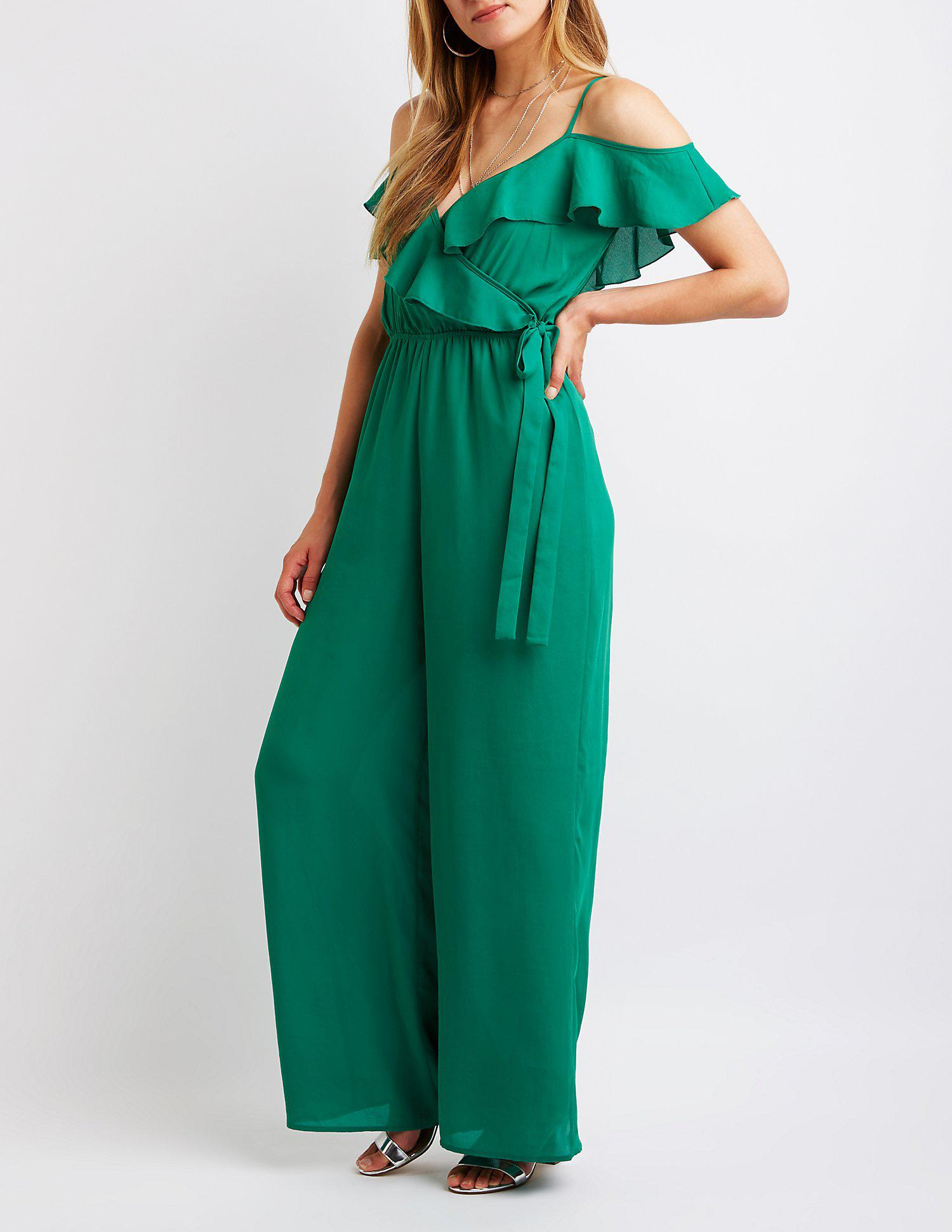 e5525ea143e Lyst - Charlotte Russe Ruffle Trim Cold Shoulder Jumpsuit in Green