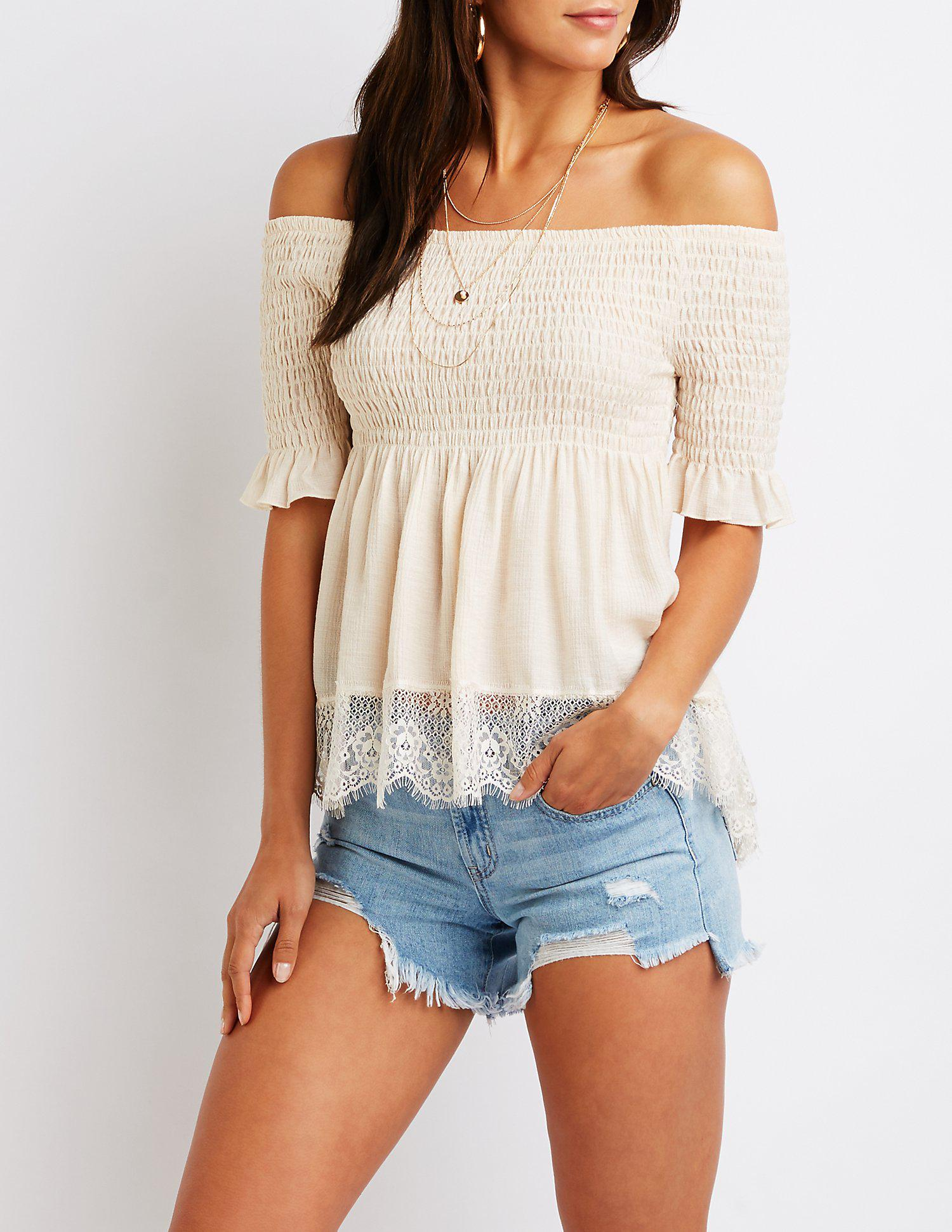 7842eb9fc848b Lyst - Charlotte Russe Smocked Off The Shoulder Top in White