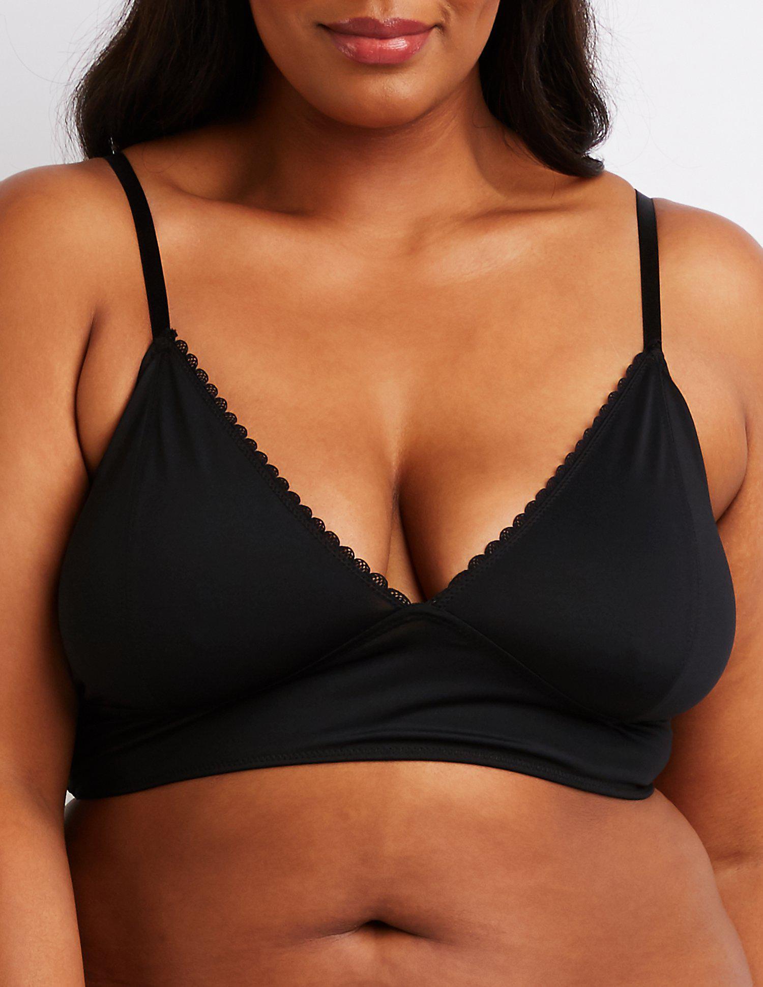 9244588354 Lyst - Charlotte Russe Plus Size Scalloped Longline Bralette in Black