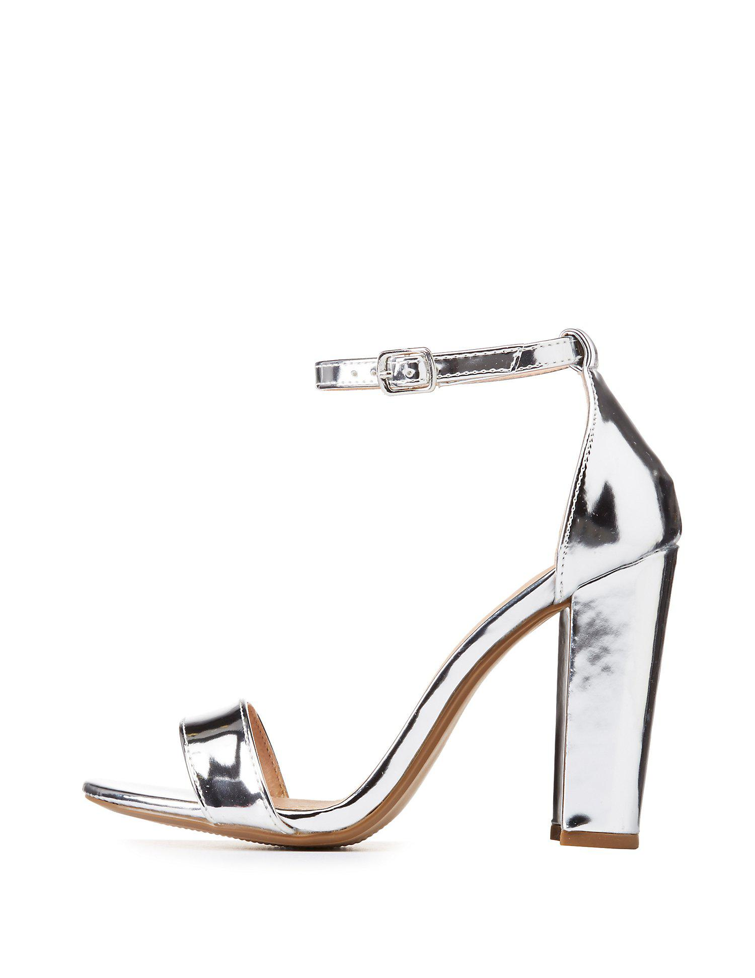 04451cbedeb Lyst - Charlotte Russe Becca Ankle Strap Heeled Sandals in Metallic ...