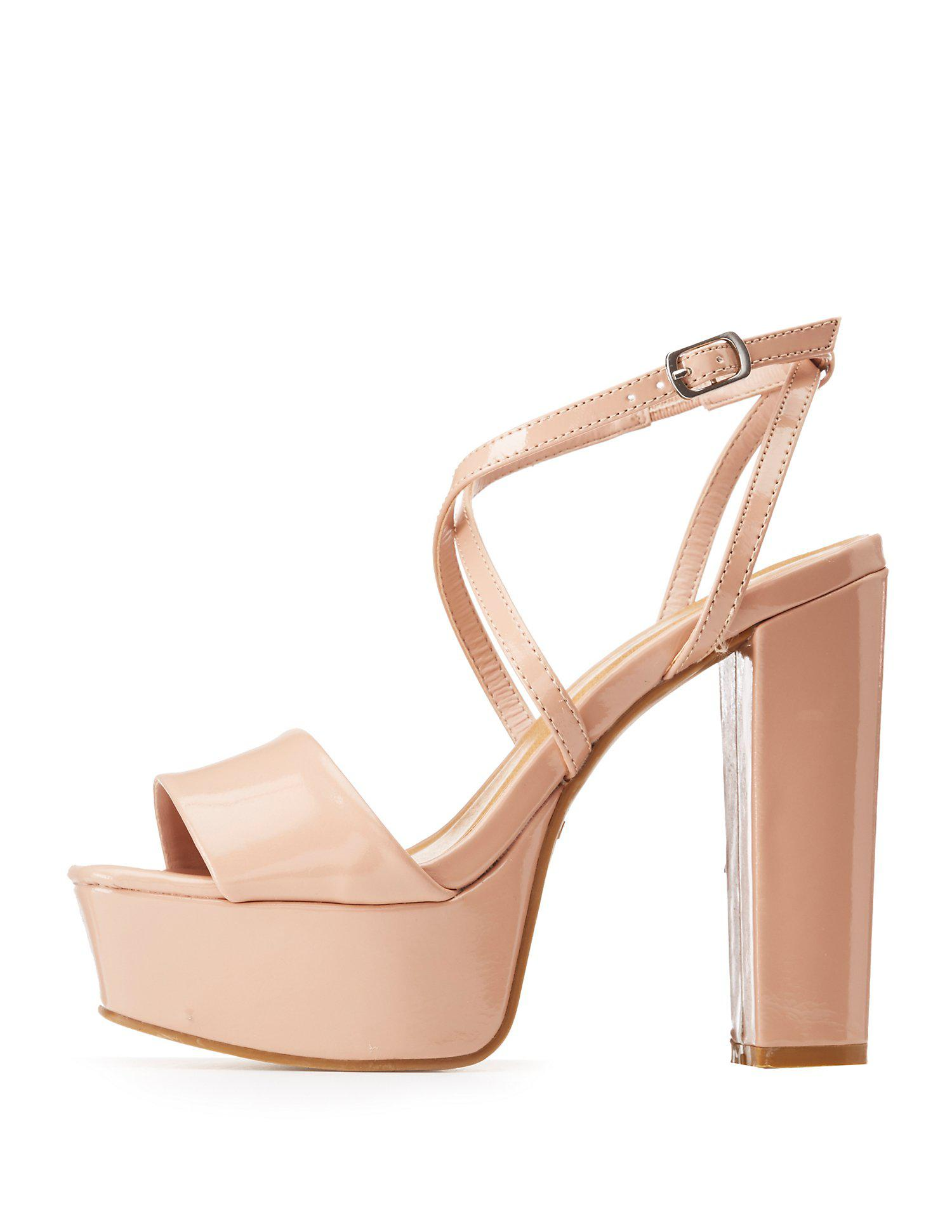 921f0f59f8ac Lyst - Charlotte Russe Bamboo Cross Strap Wedge Sandals - Save 61%