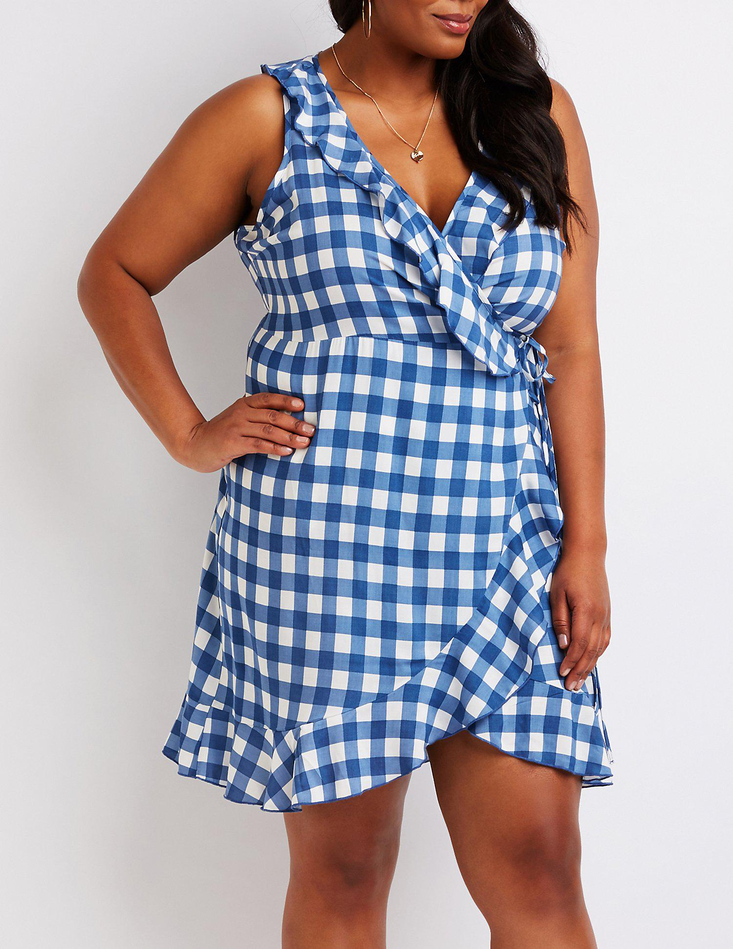 45f4d54ee8 Lyst - Charlotte Russe Plus Size Gingham Wrap Dress in Blue