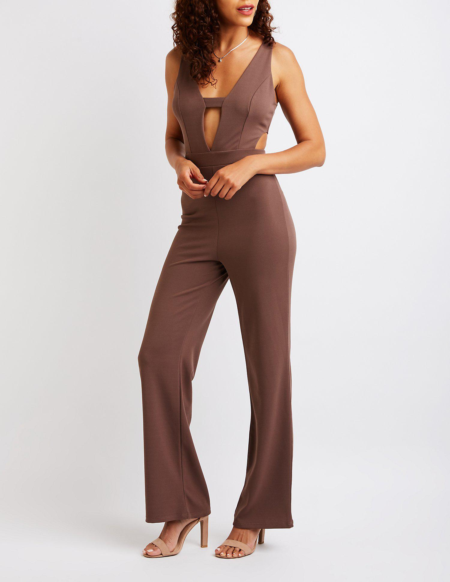 dbf4a29a9127 Lyst - Charlotte Russe Cut Out Wide Leg Jumpsuit in Brown
