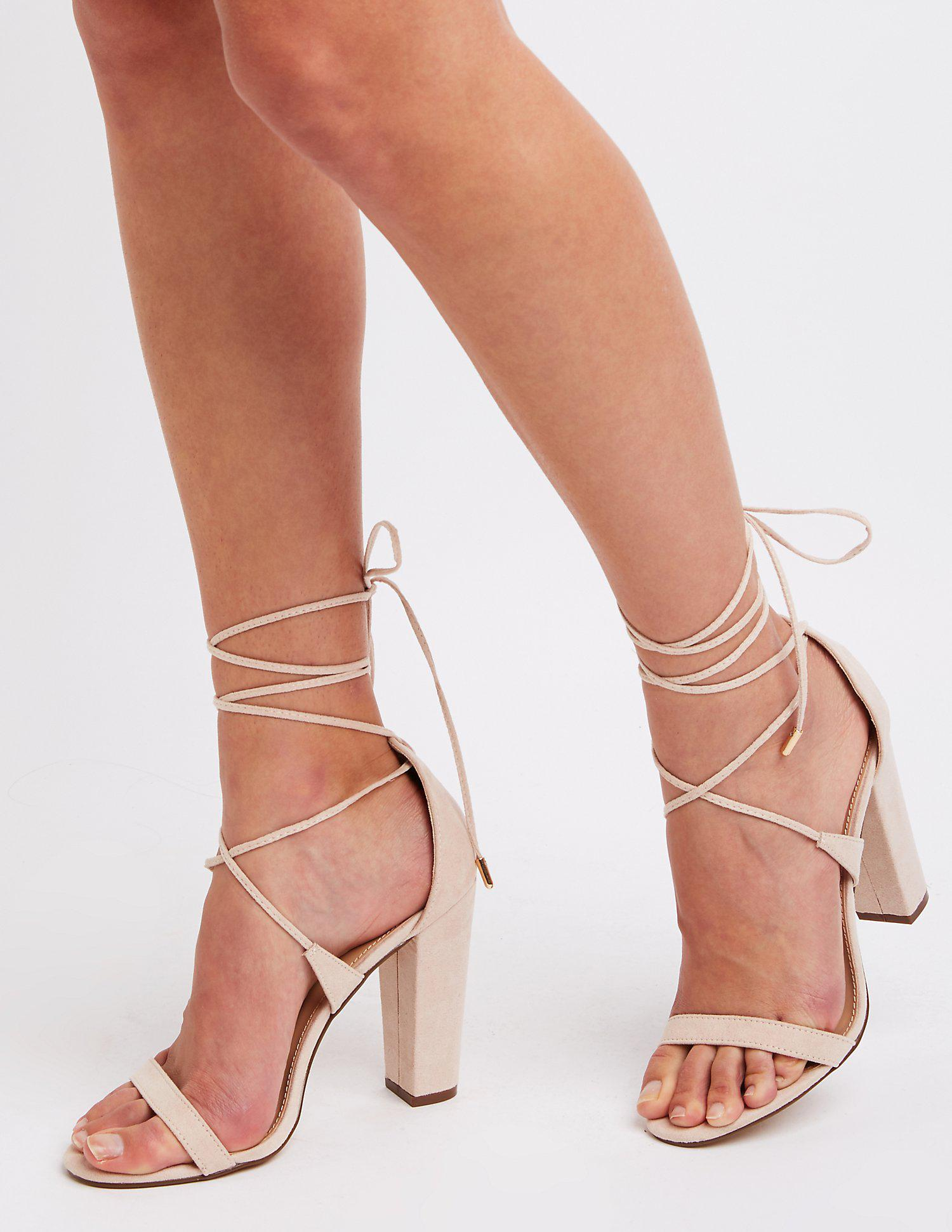 34f6437b67f7 Lyst - Charlotte Russe Ankle Wrap Block Heel Sandals in Natural ...