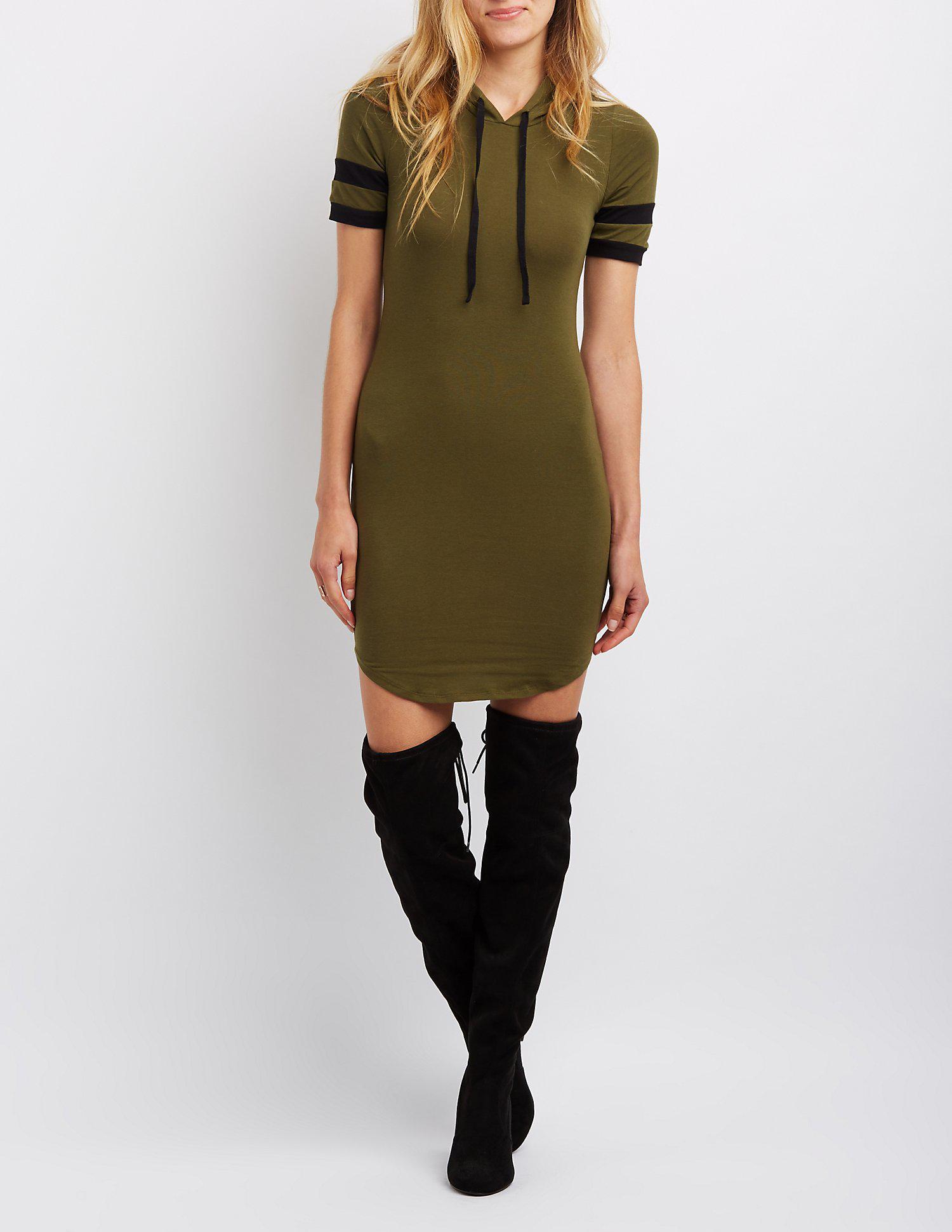64e5c6e4b5b Lyst - Charlotte Russe Varsity Stripe Hooded Sweatshirt Dress in Green