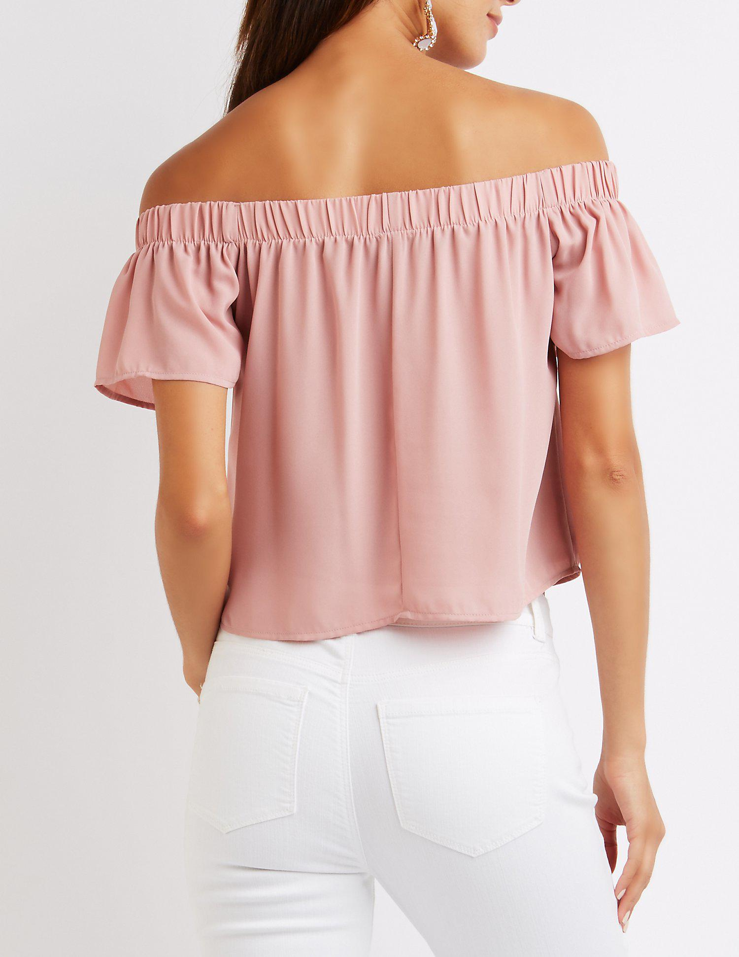 bf7b096bfeb1eb Lyst - Charlotte russe Fluttery Off-the Shoulder Top in Purple