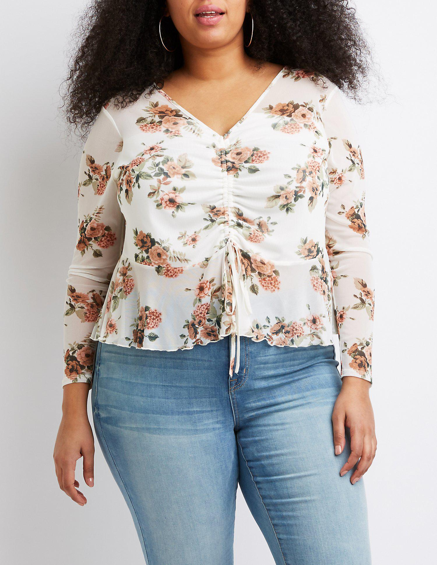 573b54bb032 Lyst - Charlotte Russe Plus Size Floral Ruched Crop Top in Blue ...
