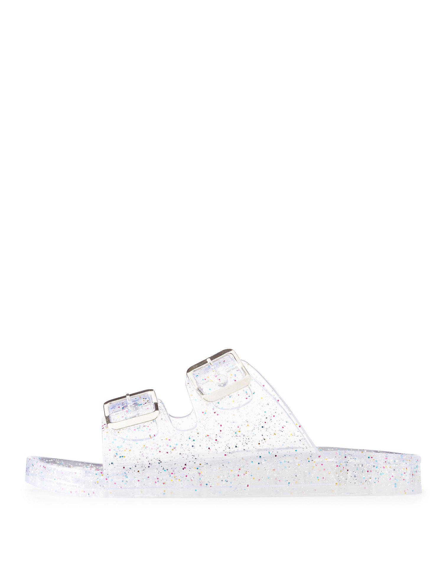 384f0a30668e Lyst Charlotte Russe Glitter Jelly Buckled Slide Sandals