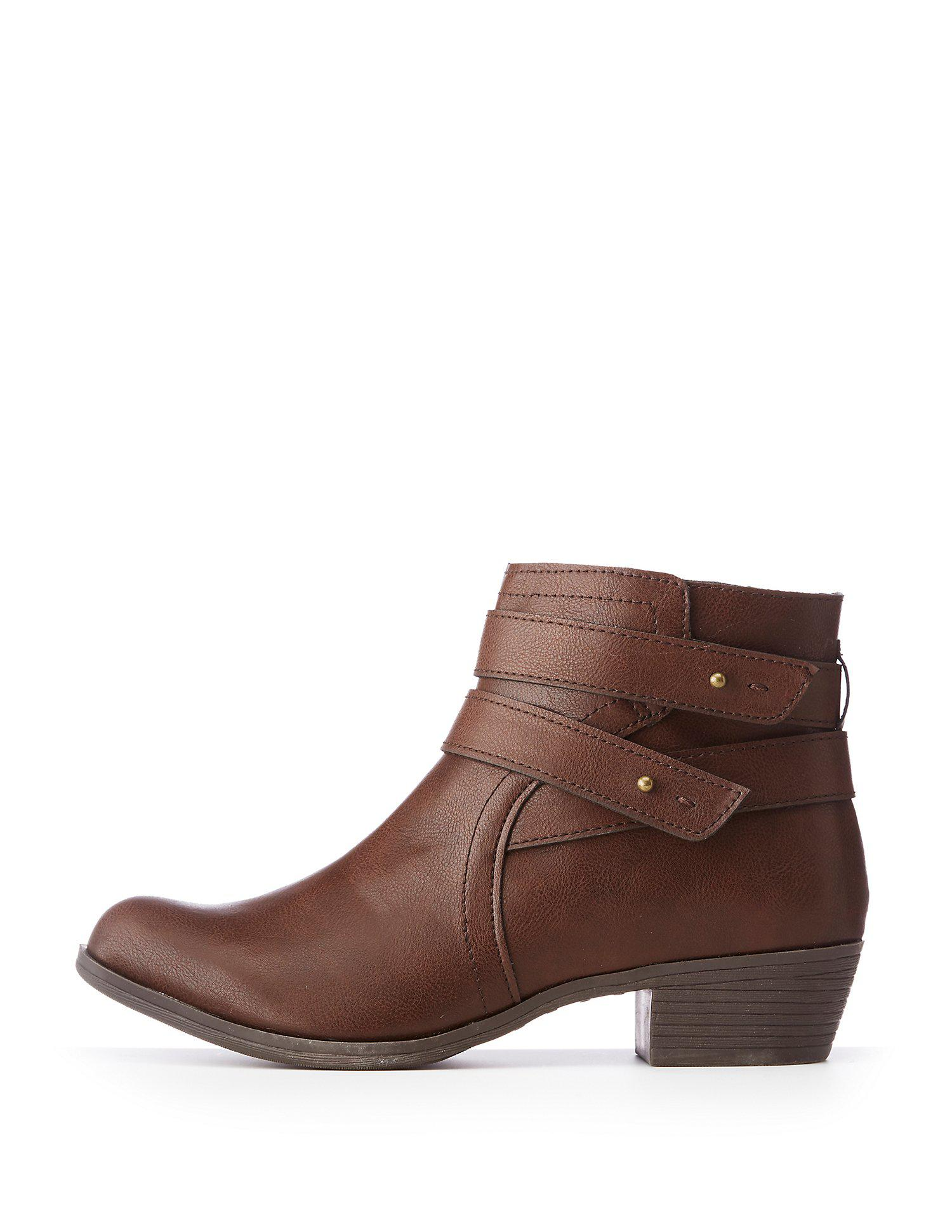 840f3b2afad2 Lyst - Charlotte Russe Bamboo Double Harness Ankle Booties in Brown